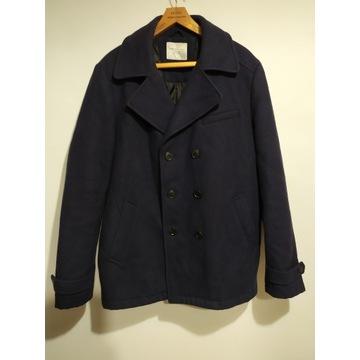 Granatowy elegancki ciepły płaszcz męski  XL wełna