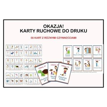 Karty ruchowe dla dzieci - zestaw 56 kart