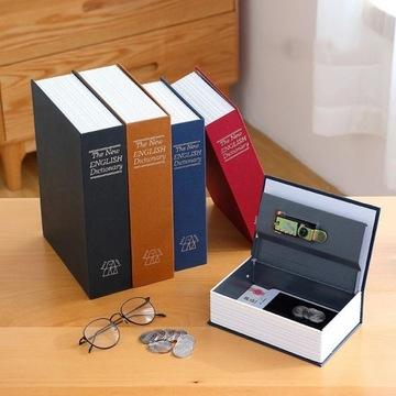 sejf, skrytka, metalowa kasetka ukryta w książce