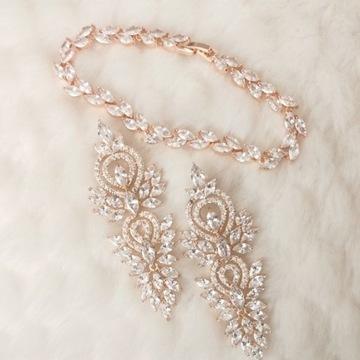 Komplet biżuterii kolczyki bransoletka rose gold