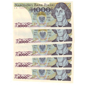 1000 ZŁ 1982 KOPERNIK SERIA EB - 5 sztuk !
