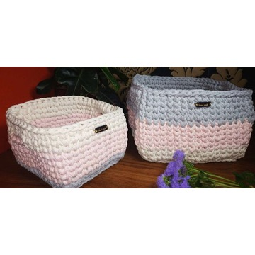 Koszyki plecione ze sznurka bawełnianego HandMade