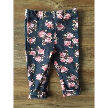 Spodnie legginsy 62/68 TU kwiatki róże