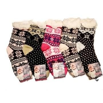 Skarpety domowe grube świąteczne Mikołaj 35-38