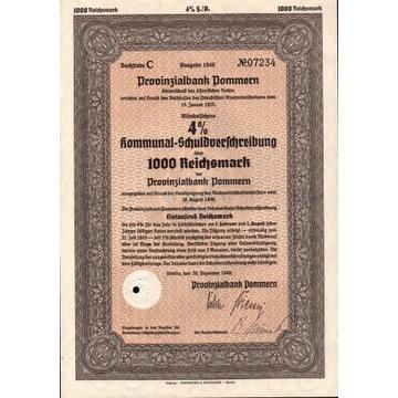 Obligacja - Szczecin na 1000 Reichsmark