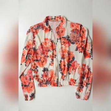 Cienka bluza bomber jacket w kwiaty M L