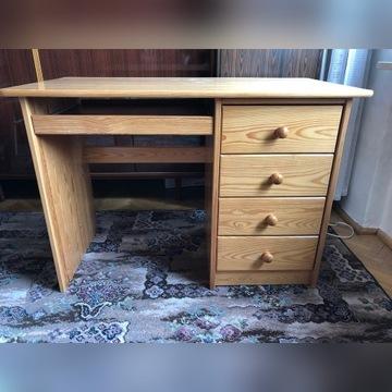 Biurko jasny brąz drewno szuflady na laptopa
