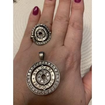 Komplet wisior i pierścionek Bvlgari srebro