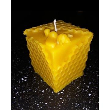 Świeczki z wosku pszczelego kostka prezent