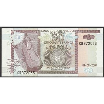 Burundi 50 franków 2001 - stan bankowy UNC