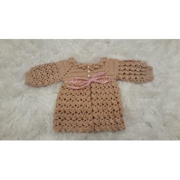 Sweterek dziewczęcy na szydełku