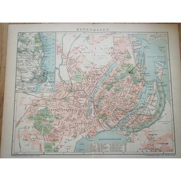 Stary plan miasta Kopenhaga 1899r antyk.