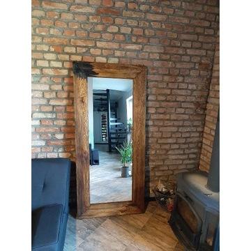 Lustro Loft, Industrialne, Retro, Vintage drewnian