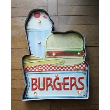 Podświetlany Szyld metal 3D Burgers BAR PUB USA