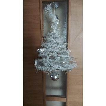 Ozdoba świąteczna srebrna zawieszka bombka 55cm