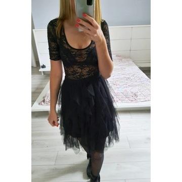 Czarne koronkowe body H&M koronka