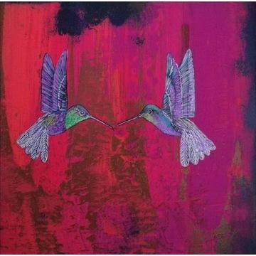 Obraz na płótnie kolibry  30 cm x 30 cm