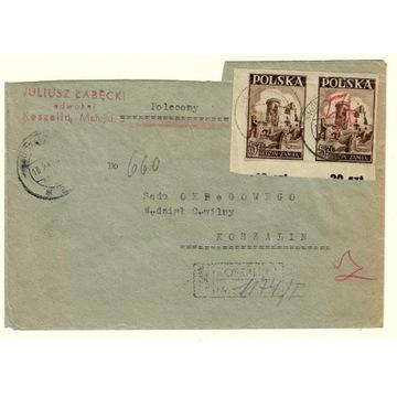 Koperta z 1947/48r z 2 znaczkami nr 408 z 1946r