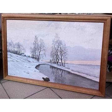 Pejzaż zimowy 90x60 M. Łatkowski 1974r