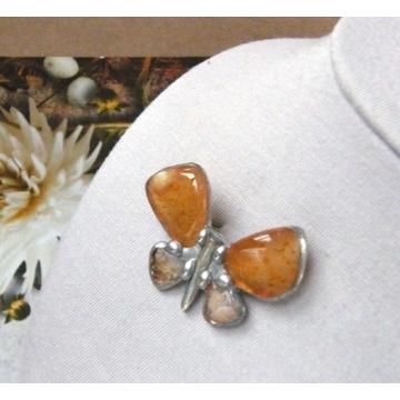 Prezent handmade: Broszka motyl karneol cytryn