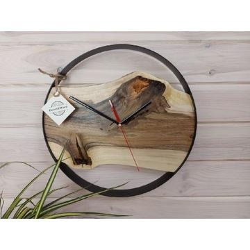 Duży okrągły zegar loft industrialny obręcz 40 cm