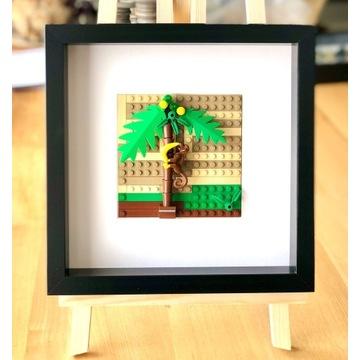 """LEGO_obraz """"Małpka z bananem""""_wyjątkowy prezent"""