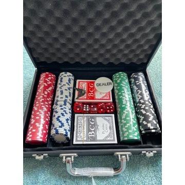 Zestaw do pokera 200 żetonów + walizka