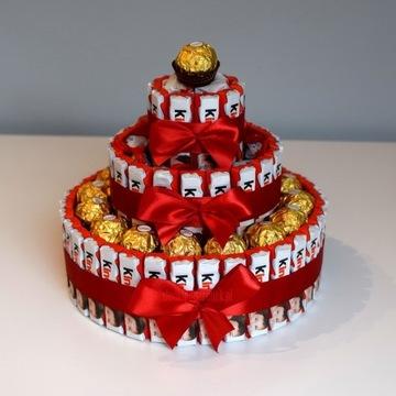 Tort z Kinder, Ferrero Rocher, Raffaello, Bons XL