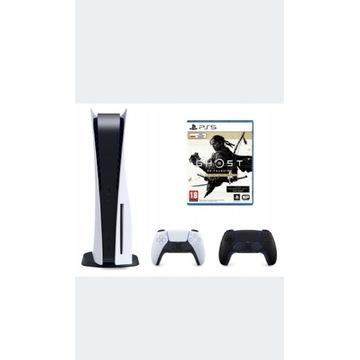 PS5 blu-ray + pad czarny + Ghost of Tsushima