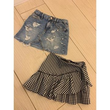 Spódniczki Zara 110 jeansowa kratka perły