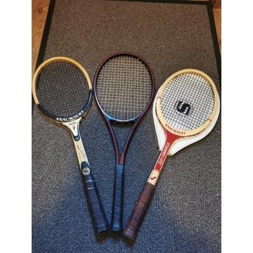 Zestaw 3 zabytkowych rakiet tenisowych