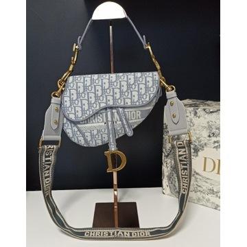 Torebka Christiana Dior Saddle Bag Grey haft