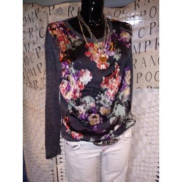 S 36 M 38 szara bluzka w kwiaty melanż boho bluza