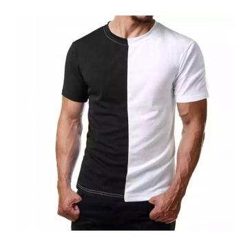 T-Shirt dwukolorowy czarno biały