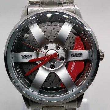 Męski zegarek felga 3D srebrny