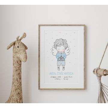 Plakat metryczka Anioł Stróż dla chłopca  A3