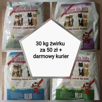Żwirek dla kota 30 kg 3x10kg darmowa wysyłka
