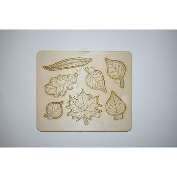 Układanka drewniana edukacyjna puzzle liście
