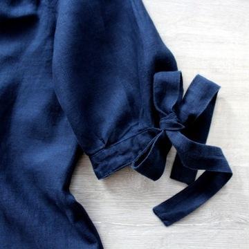 Lniana sukienka bardotka 36 38 40 handmade