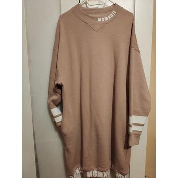 Długa bluza sukienka beżowa dresowa XL