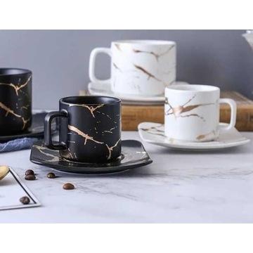 Filiżanki marmurowe do espresso 8 szt 120ml talerz