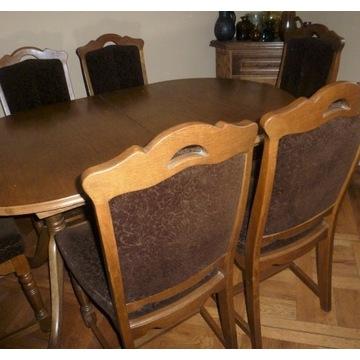 Duży stół + 6 krzeseł /dąb/