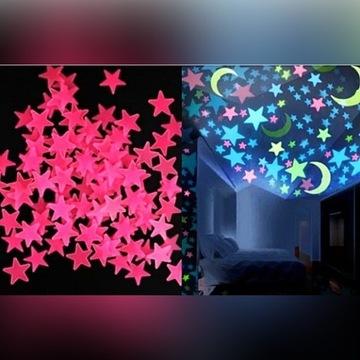 Ozdoby fluorescencyjne GWIAZDKI różowe 50sztuk