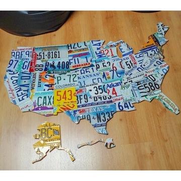Mapa USA z oryginalnych tablic, handmade