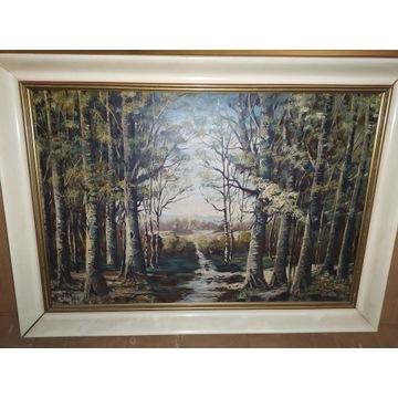 Stary obraz z ramą Duży Motyw Lasu Idealny Stan