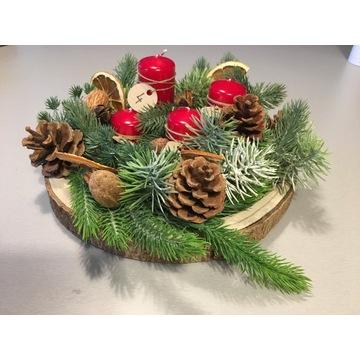 Stroik adwentowo- świąteczny, podstawa drewniana