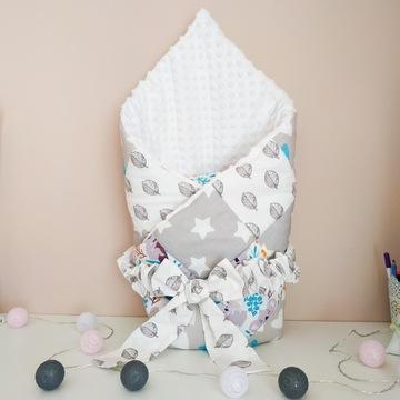 Kokon niemowlęcy dla chłopczyka minky patchwork