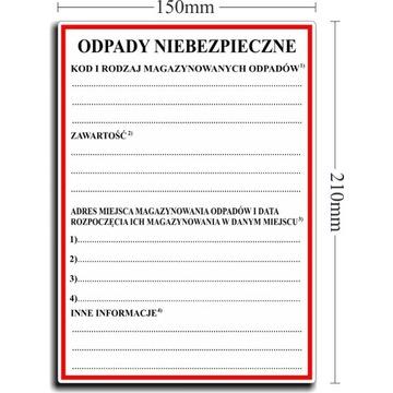 ODPADY NIEBEZPIECZNE Naklejki Etykiety FOLIA x 200