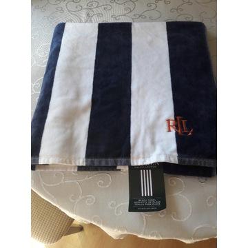 Nowy ręcznik duży biało granatowy Ralph Lauren