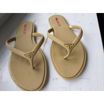 Klapki Rubber Thong Sandals Prada 39 Gold Saffiano